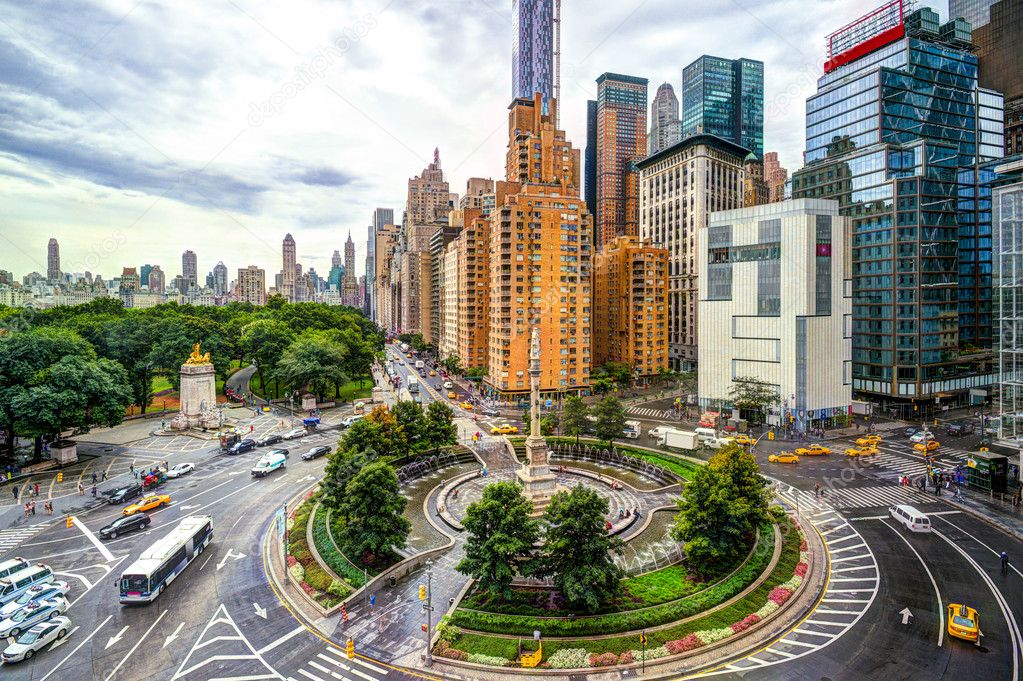 Columbus Circle, Manhattan, New York -  the circle is named after the monument of Christopher Columbus in the center. The name is also used for the neighborhood that surrounds the circle for a few blocks in each direction.